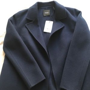 Theory Navy Wool + Cashmere Coat Sz M